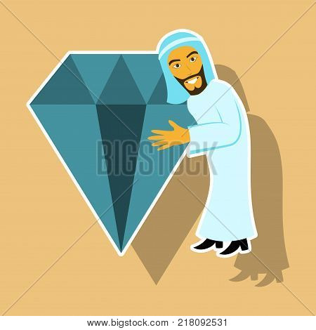 realistic paper sticker on theme Arabic business arabic man with a diamond