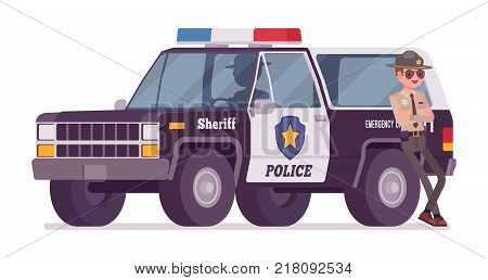 Male sheriff standing near car. Chief executive officer wearing official uniform and large off road vehicle. Law, justice concept. Vector flat style cartoon illustration isolated on white background