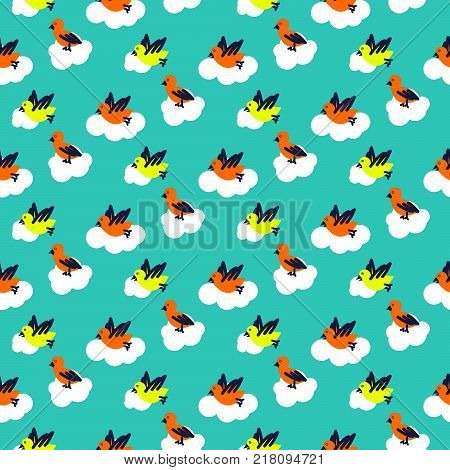 Birds on clouds turquoise blue pattern seamless vector. Cute baby print for swaddle fabric and apparel.