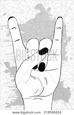 Heavy metal hand gesture. Rock festival poster.  Rock-n-roll sign. Template for slogan, poster, flyers, banner and etc. Vector illustration isolated on white grunge background.