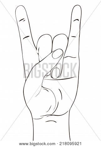 Rock festival poster. Rock-n-roll  hand gesture. Heavy metal sign. Template for slogan, poster, flyers, banner and etc. Vector illustration isolated on white background.