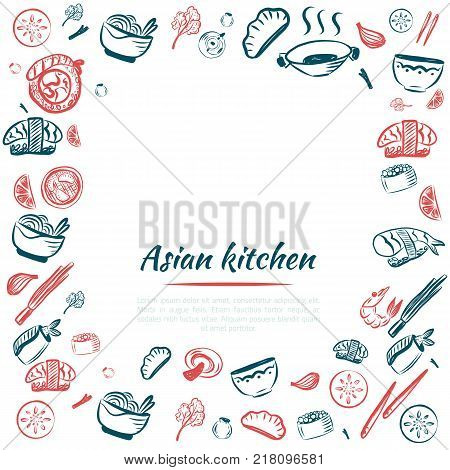 Doodle Japanese cuisine poster frame for restaurant menu. Asian food background. Vector illustration.