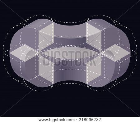Isometric arched shapes, isolated on black background. Abstract object or background. Three-dimensional round shapes. Low poly vector.