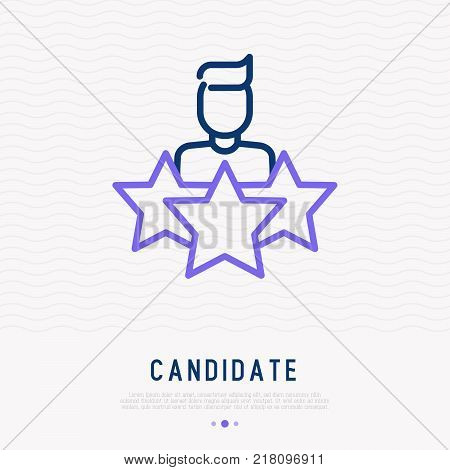 Candidate searching thin line icon. Modern vector illustration of employee selection.