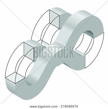 Abstract curved vector shape reminiscent of technological development, nanotechnology component. Isometric brand of scientific institution, research center or laboratories.
