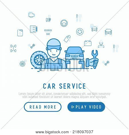 Car service concept with thin line icons of mechanic, computer diagnostics, tools, wheel, battery, transmission, jack. Modern vector illustration, template for web page.