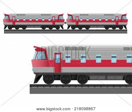Modern train with solid metal corpus of streamline shape and small windows drives on rails isolated cartoon vector illustration on white background.