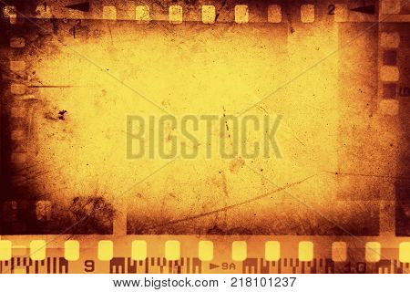 Film negative frames on orange background