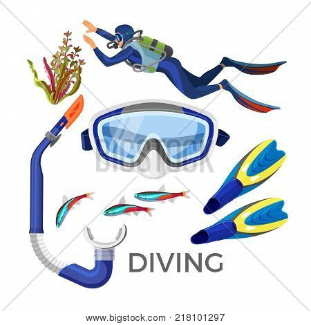 Diving accessories as silicon goggles, rubber tube, blue flippers, underwater grass and fish, diver in protective suit for snorkeling vector set isolated on white