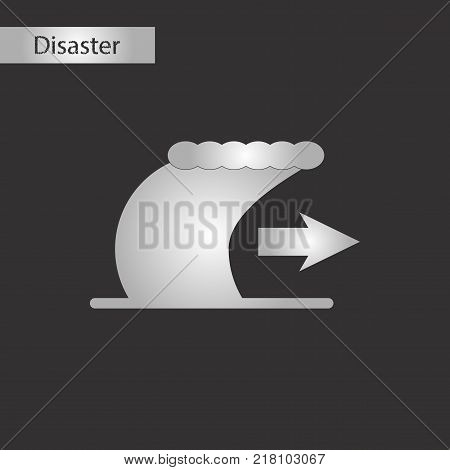 black and white style icon of tsunami movement