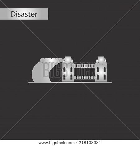 black and white style icon of tsunami city