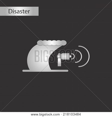 black and white style icon of tsunami loudspeaker