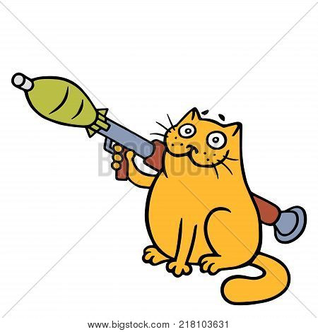 War cat with a grenade launcher. Vector Illustration. Cute orange cartoon pet character.