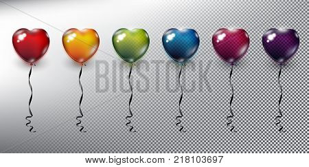 Set of 6 colorful helium balloons in form of hearts. Inflatable air flying balloons. Isolated with realistic, transparent glass shine and shadow on the light background. Vector illustration. Eps10.