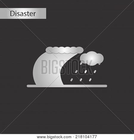 black and white style icon of tsunami storm