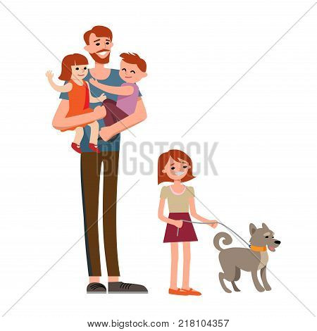 Cartoon characters of family. Dad and his children celebrating father's Day. Dad is my hero.
