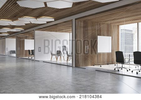 Wooden Ceiling Office, Two Desks Toned