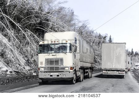 Chelyabinsk region Russia - March 15 2015: Semi-trailer truck International 9800 at the interurban road.