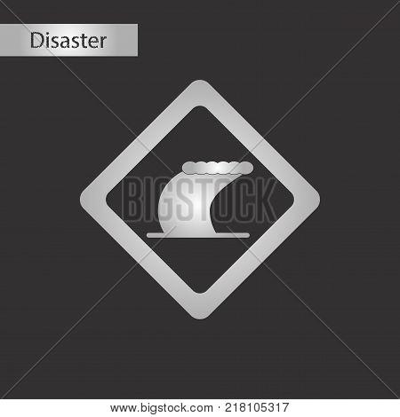 black and white style icon of tsunami sign