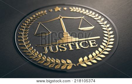 Scales of justice embossed symbol design with golden foil over black paper background. 3D illustration