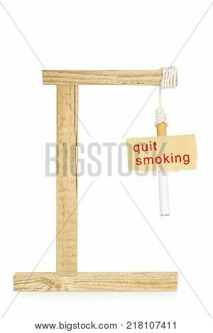 cigarette hanging on gallows quit smoking concept