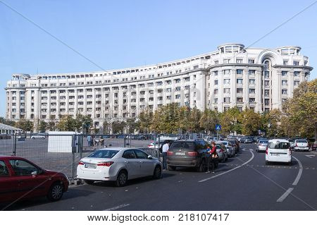 Bucharest Romania October 10 2017 : Ministry of Regional Development and Public Administration building on the Constitution Square in Bucharest city in Romania