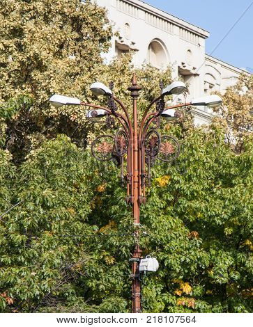 Bucharest Romania October 10 2017 : Street lamp standing on the Boulevard Unirii in Bucharest city in Romania