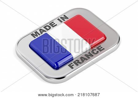 Silver badge Made in France with French flag, 3D illustration
