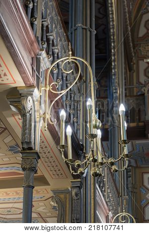 Bucharest Romania October 10 2017 : Decorative lamp hanging on the wall in the synagogue Coral in Bucharest city in Romania