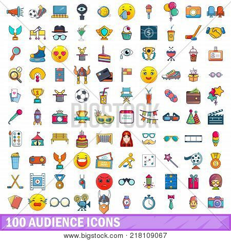 100 audience icons set. Cartoon illustration of 100 audience vector icons isolated on white background