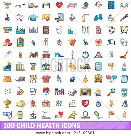 100 child health icons set. Cartoon illustration of 100 child health vector icons isolated on white background