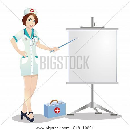 Redhead nurse points to flip chart.Nurse on presentation. Nurse with clipboard giving medical presentation. illustration