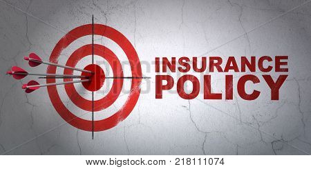 Success Insurance concept: arrows hitting the center of target, Red Insurance Policy on wall background, 3D rendering