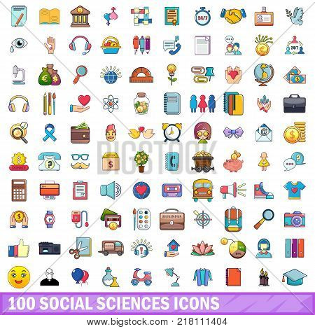 100 social sciences icons set. Cartoon illustration of 100 social sciences vector icons isolated on white background