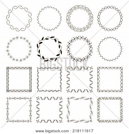 Set of 16 Abstract simple trendy geometric frames. Round and square shapes, borders with monochrome trellis. Bends, doodles and tittles. Vector frames and borders. Simple graphic design. Abstract