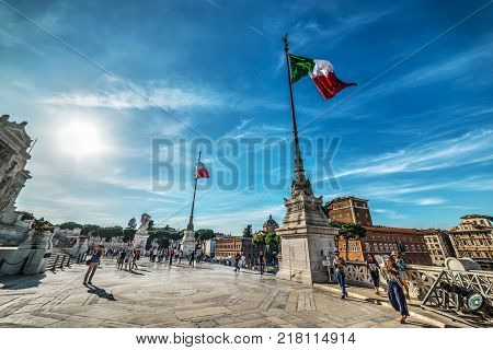 Rome Italy - October 12 2017: tourists in Altar of the fatherland