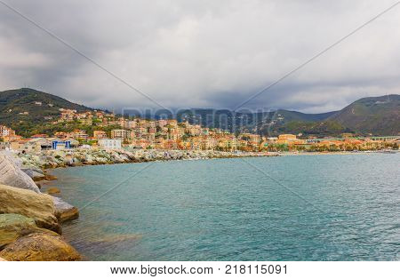 panoramic view of the bay of the city of Varazze, Italy  /  panoramic view of the bay of the city of Varazze, Italy  /panoramic view of the houses of the city of Varazze located in Liguria(Italy)