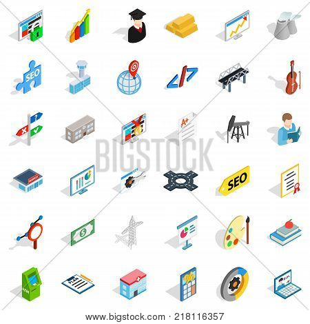 Profession icons set. Isometric style of 36 profession vector icons for web isolated on white background