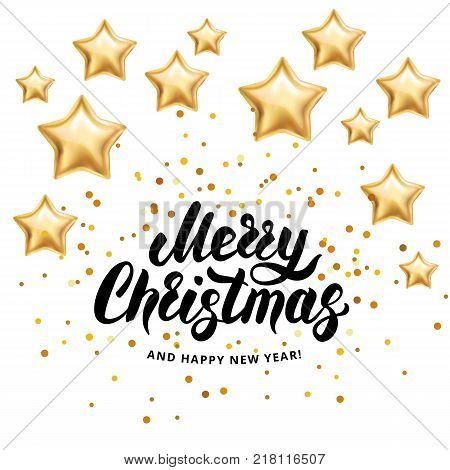 Merry Christmas Happy New Year 2018. I wish you Merry Christmas and Happy New Year. Gold stars sparkles, glitter confetti. Greeting card white background. Golden sparkle backdrop invitation, decoration