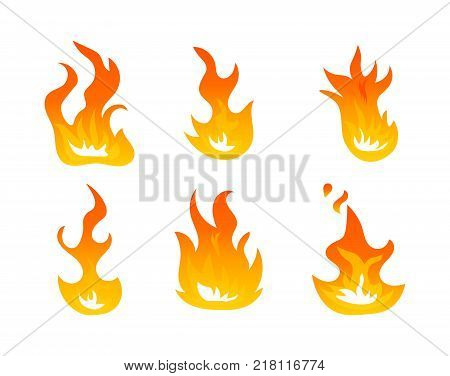 Cartoon fire flames vector set. Ignition light effect, flaming symbols. Hot flame energy, effect fire animation illustration on white background.