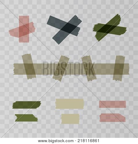 Adhesive tape pieces isolated on transparent background. Vector illustration for your web design.