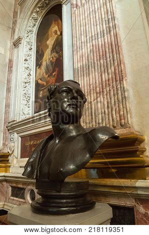 ST PETERSBURG RUSSIA - AUGUST 15 2017. Saint Isaacs Cathedral. Sculptural bust of Auguste Montferrand - famous architect a builder of St. Isaac's Cathedral