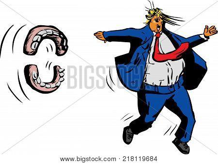 Toothless Donald J. Trump Outline Cartoon
