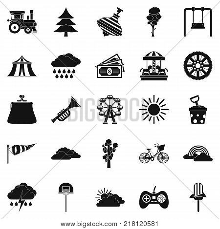 Children amusement park icons set. Simple set of 25 children amusement park vector icons for web isolated on white background