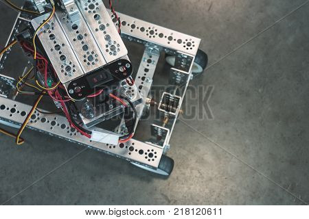 Explorer Robot Rescues On Four Wheels With Copy Space For Text. Close Up Of Automobile Robot Bomb Re
