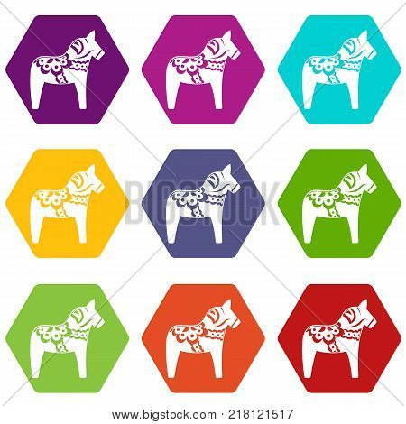 Toy horse icon set many color hexahedron isolated on white vector illustration