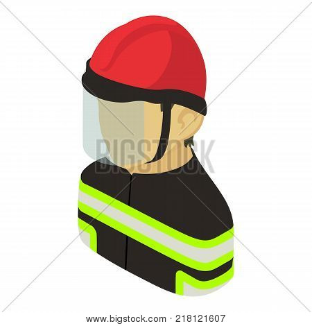 Firefighter man asian icon. Isometric illustration of firefighter man asian vector icon for web
