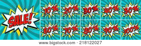 Big turquoise color sale set. Sale inscription and all percent numbers. turquoise and red colors. Pop-art comics style web banners, flash animation, stickers, tags. Vector illustration