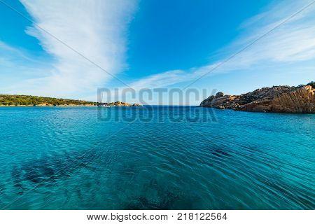 Blue sea in Spalmatore beach. La Maddalena Sardinia