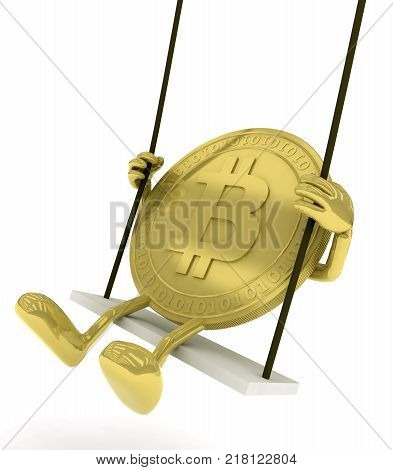 Bitcoin with arms and legs on a swing 3d illustration
